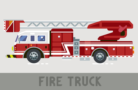 Red and White Fire Dept Truck in Flat Style Illustration