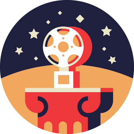 Movie Award Icon in Flat Style Illustration