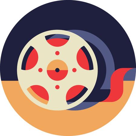 Film Bobbin Icon in Flat Style