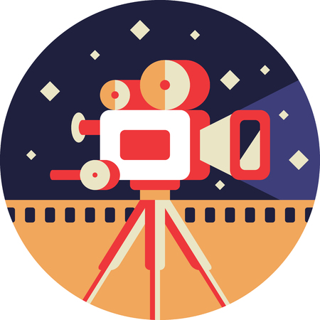 Movie Camera Icon in Flat Style Illustration