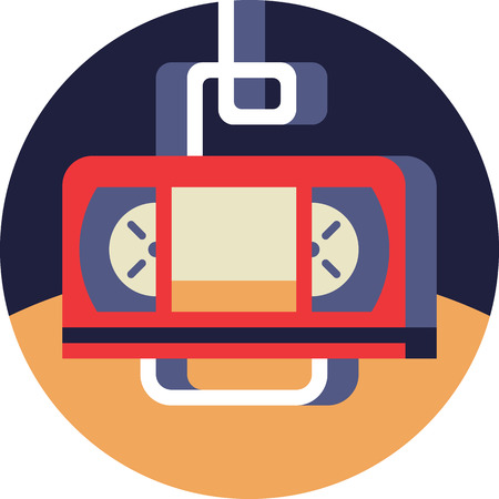 Video Tape Icon in Flat Style