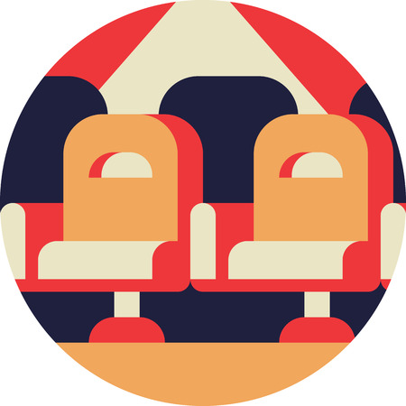 Cinema Armchairs Row Icon in Flat Style Illustration