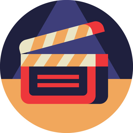 Cinema Clapperboard Icon in Flat Style