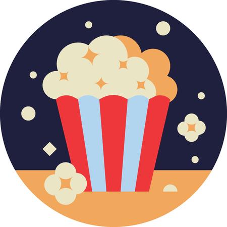 Popcorn Bucket in Flat STyle
