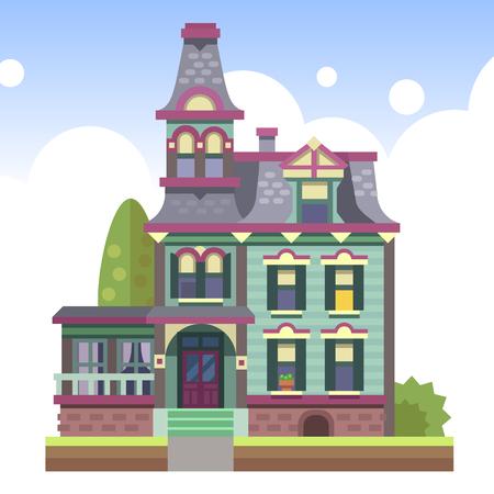 Landhuis met meerdere verdiepingen met een veranda en een zolder Stock Illustratie