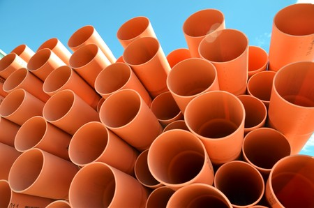stackable: PVC pipes stackble Stock Photo