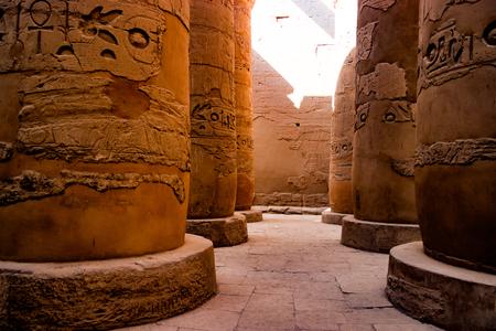 Egyptian hieroglyphic columns in Luxor, Egypt Stock Photo