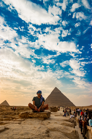 Meditation near the pyramids in Cairo, Egypt