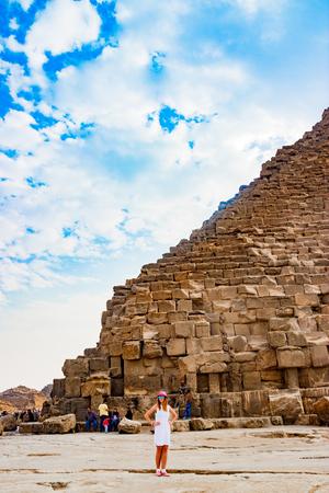 Girl near the pyramid in Cairo, Egypt