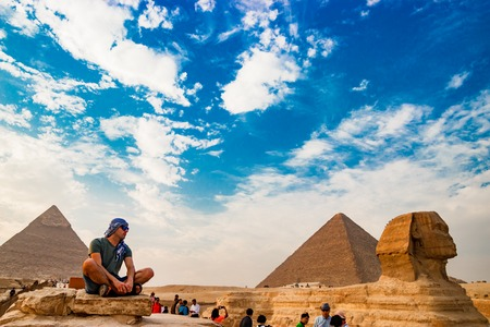 Meditation near the sphinx in Cairo, Egypt