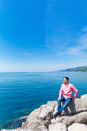 Sea on background in Italy Stock Photo