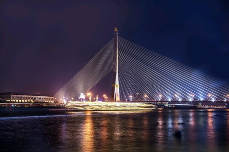 lightning speed: The beautiful bridge at night Stock Photo
