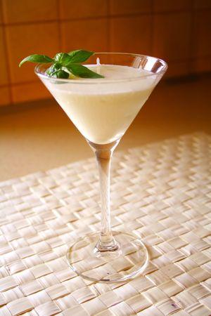 leaflets: coconut milk drink with basil leaflets on top