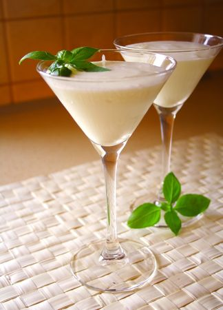 leaflets: coconut milk drink with basil leaflets on top