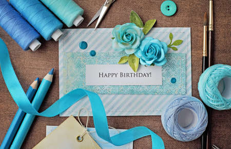 making of scrapbook greeting card. birthday card