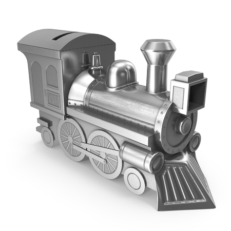3d rendering of Money Box In the form of a steam locomotive
