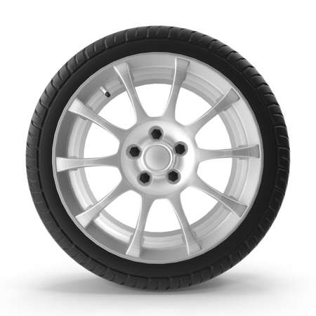 3d rendering of car wheel, isolated on white background Stock Photo