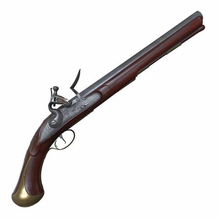 Old Worn Farmer Flintlock Pistol