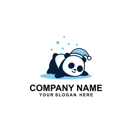 Sleepy panda cartoon logo design.