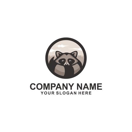 Raccoon logo design Ilustrace