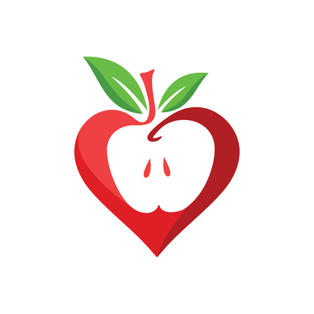 apple love logo design. Vector illustration.