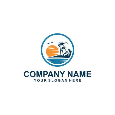 sunset beach logo design. Vector illustration. Imagens - 95208259