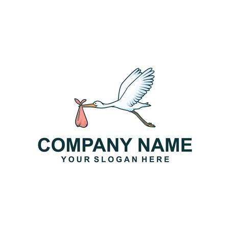 logo design cicogna. Illustrazione vettoriale Logo