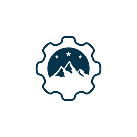 Gear mountain logo design.