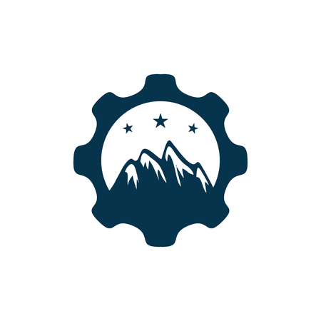 Gear mountain three icon design.