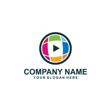 media play logo design. Ilustração