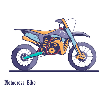 Racing motocross bike. A colorful illustration of high quality in a flat design.
