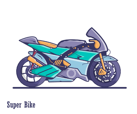 Racing super bike. A colorful illustration of high quality in a flat design.
