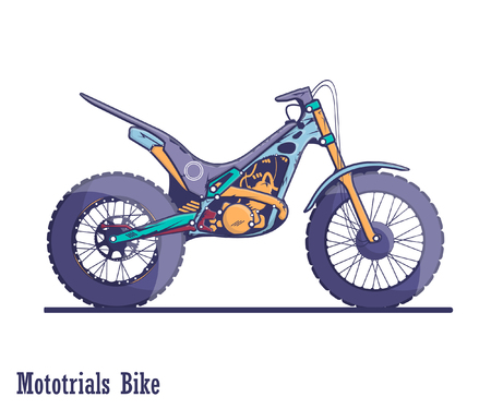 Moto trials bike. A colorful illustration of high quality in a flat design. Illustration