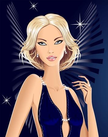 sexy meisje: Mooi blond meisje engel voor uitnodiging op feest of reclame Stock Illustratie