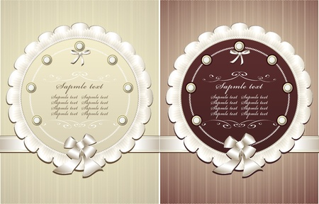 Frames with pearls bow in retro style for congratulation or invitation Vector