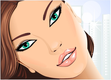 face make up:   Portrait beautiful girl with green eyes on  city background Illustration