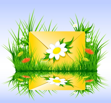 Letter or sms in grass spring summer style for web, internet, mobile telephone Illustration