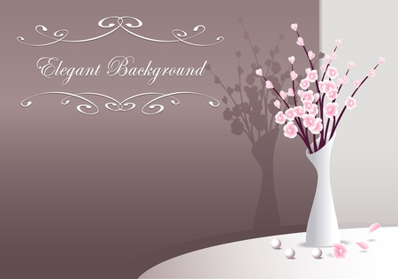 Elegant Background with flowers in vase and pearls for presentation something