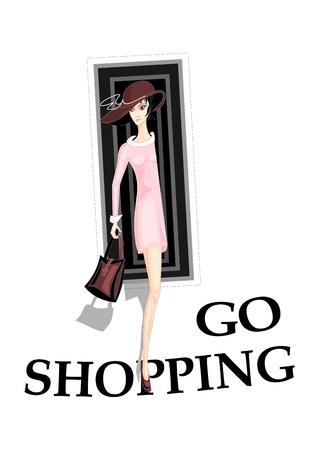 Symbolic composition Girl go shopping Stock Vector - 13327806