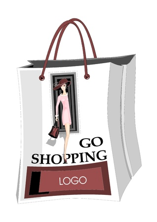 Packet for purchases with image girl, which call to do shopping. Vector