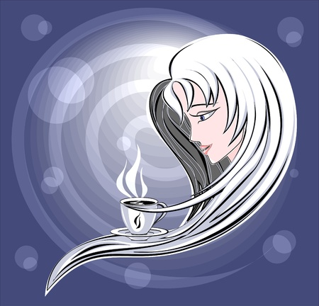 Girl with cup of Coffee. Symbolic composition Aroma of Coffee