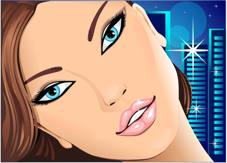 Portrait beautiful girl with blue eyes on night city background Illustration