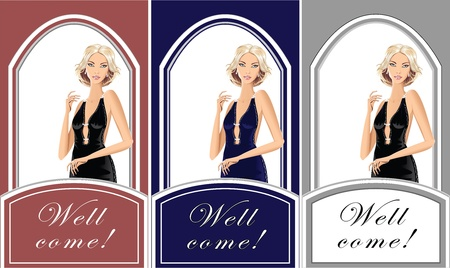 Beautiful blond girl for shop exclusive clothes or parfum or for Invitation Vector