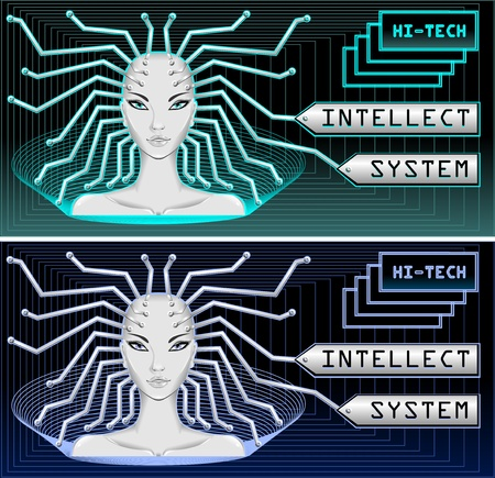 Intellect system and hi tech technology for web and security Stock Vector - 13361362