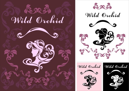 hair wash: Wild Orchid logotype for perfumery or hair dressing salon or flowers shop Illustration