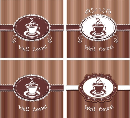 Cup of coffee or tea  in chocolate colors Vectores