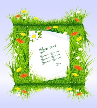 Frame Invitation - Letter in grass with field flowers original square grass border