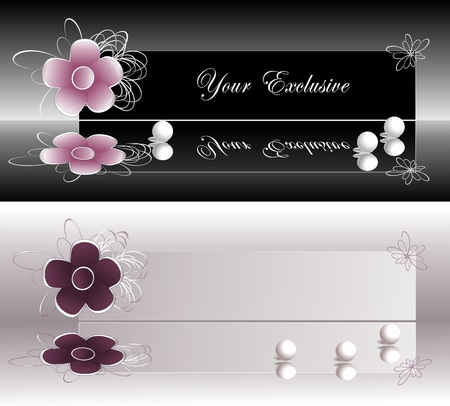 Exclusive labels  banners with pink and violet flower and pearls for presentation something  Vector