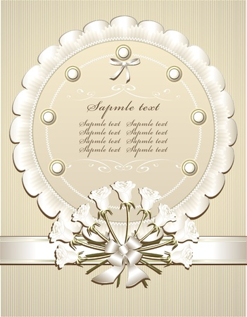 Wedding  Congratulation or Invitation with white roses  in  retro style  Illustration