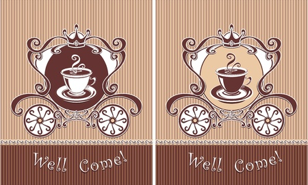 atilde: Royal Cup of coffee or tea in carriage for invitation or advertising